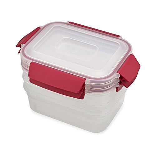 Joseph Joseph 81101 Nest Lock Plastic Food Storage Container Set with Lockable Airtight Leakproof Lids 6-piece 37 ounces Red