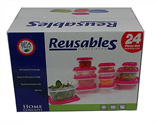 Reusables 24-Piece Food Storage Set Hot PinkFuschia
