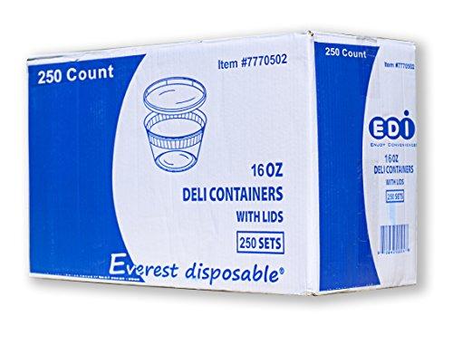 EDI Wholesale 250 Sets Microwavable Translucent Plastic Soup Food Deli Container With Lid 16OZ