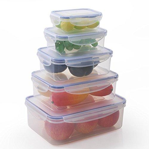 ElaineStore 5PCs Airtight CondimentSauceSnackFood Plastic Storage Containers Set