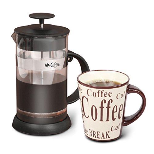 French Coffee Press or Tea Maker and Ceramic Coffee Mug Christmas Gift Set 32 oz