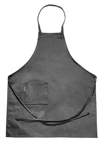 Chef Revival 601BAC Poly Cotton Full Length Bib Apron with Side Pocket 34 by 30-Inch Black