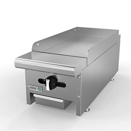 Griddle natural gas countertop 12W x 32‐14D x 13H 1 24000 BTU burner Asber AEMG-12