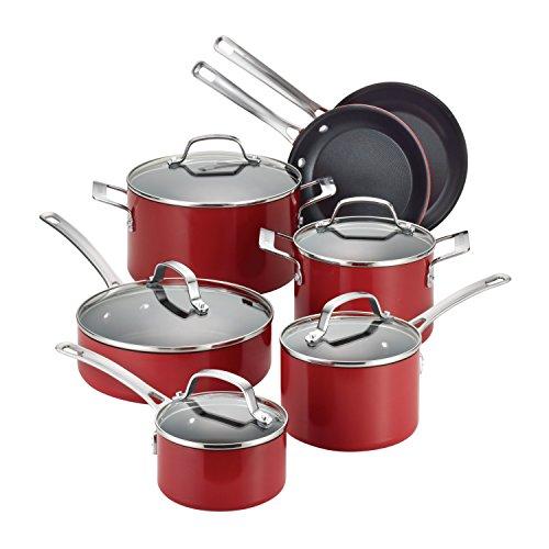 Circulon Genesis Aluminum Nonstick 12-Piece Cookware Set Red