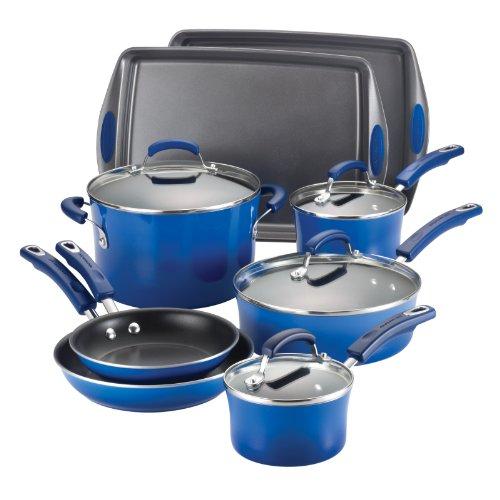 Rachael Ray Porcelain Enamel II Nonstick 12-Piece Cookware Set Blue Gradient