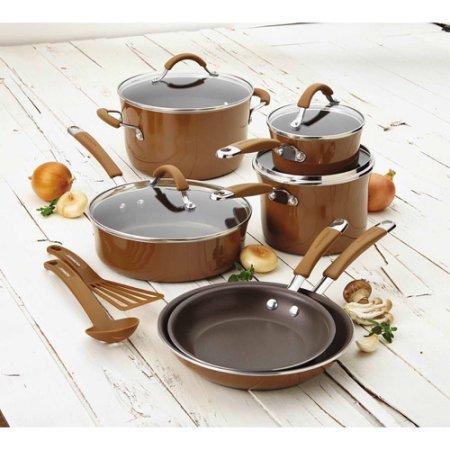 Rachael Rayr Cucina Hard Porcelain Enamel Nonstick Cookware Set 12-Piece Mushroom Brown