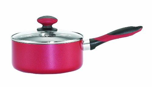 Mirro A79624 Get A Grip Aluminum Nonstick Saucepan with Glass Lid Cookware 3-Quart Red