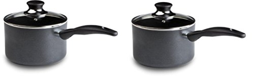 T-fal A85724 Specialty Nonstick Dishwasher Safe Handy Pot Saucepan with Glass Lid Cookware 3-Quart Gray AxIIuA 2 Pack Nonstick