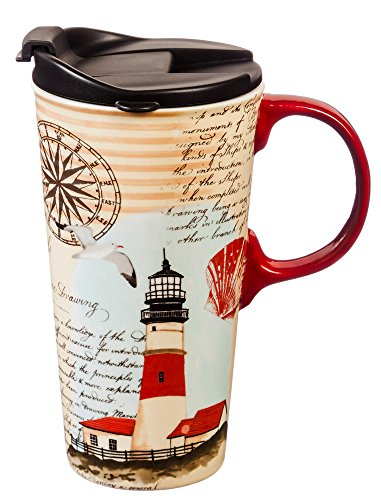Cypress Home Northeast Lighthouse Ceramic Travel Coffee Mug 17 ounces
