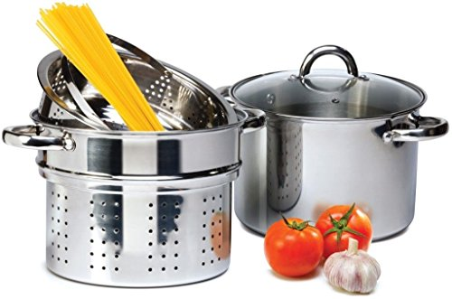 4 Pcs Stainless Steel Pasta Cooker Set - 8 qt Stock Pot with Steamer Inserts