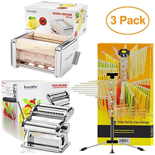 Innovee Home 3 Pack Including - Ravioli Maker  Pasta Maker  Pasta Drying Rack