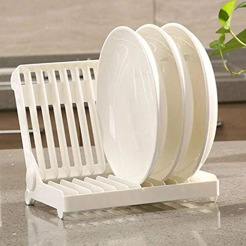 Foldable Dish Plate Drying Rack Organizer Drainer Plastic Storage Holder KitchenDrain Rack White