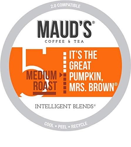Mauds Pumpkin Spice Coffee Great Pumpkin Mrs Brown 50ct Recyclable Single Serve Pumpkin Spice Flavored Coffee Pods - 100 Arabica Coffee California Roasted Pumpkin Spice K Cups Compatible