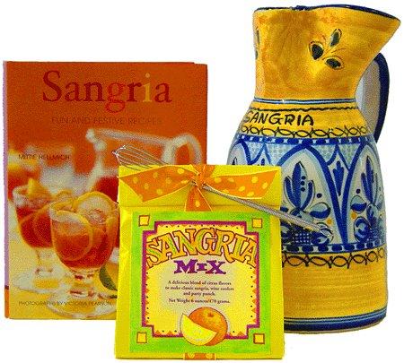 Sangria Pitcher Gift Set Fiesta Yellow Pattern