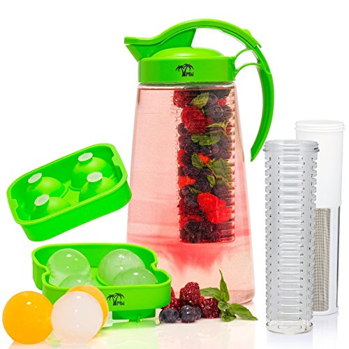 The New MAMI WATA Tea Fruit Infusion Pitcher - Free Ice Ball Maker - Free Infused Water Recipe eBook - Includes Shatterproof Jug Fruit Infuser and Tea Infuser - The PERFECT Set