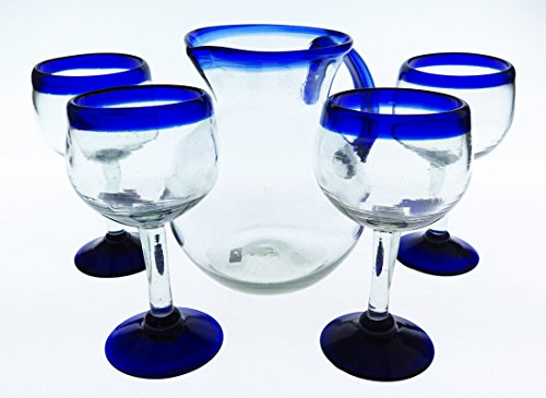 Mexican Glasses Wine Pitcher Set Blue Rim Hand Blown 14 oz Set of 4 Bola Pitcher 10 cups