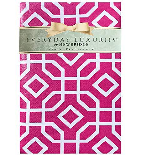 Newbridge Octavia Contemporary Trellis Design Vinyl Flannel Backed Tablecloth - Octagon Geometric Modern IndoorOutdoor Vinyl Patio BBQ and Dining Tablecloth - 60 x 102 OblongRectangle Pink