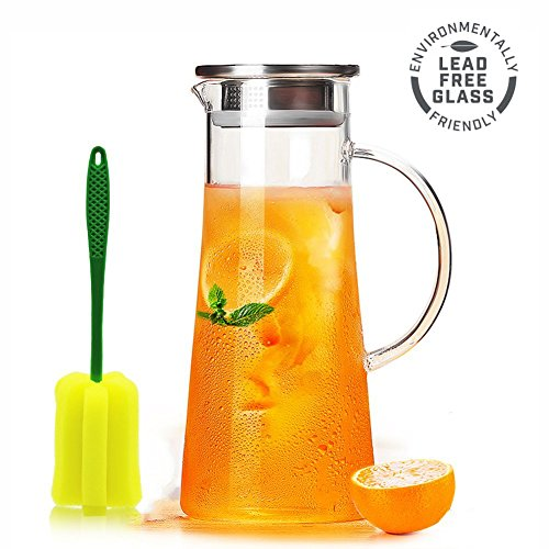 Glass Water Pitcher with Stainless Steel Infuser Lid and Spout - Heat Resistant Pitcher for HotCold Water 50 oz Glass 1500ml