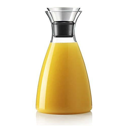 Hiware 50 Oz Glass Drip-free Carafe with Stainless Steel Flip-top Lid Hot and Cold Glass Water Pitcher TeaCoffee Maker Cafe Iced Tea Beverage Pitcher As Well As for Decanting and Serving Wine