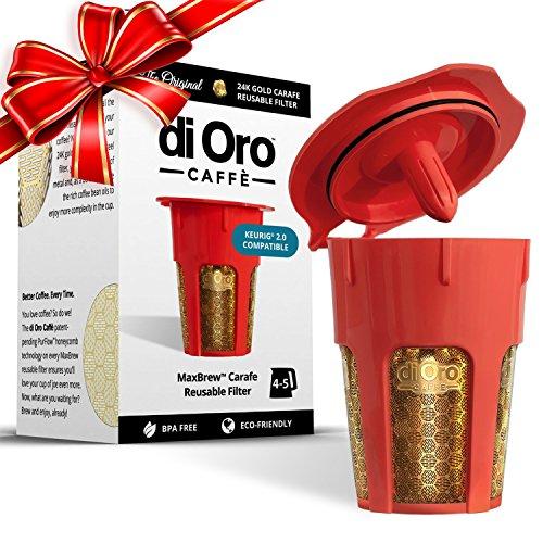 MaxBrew 24K Gold Reusable K-Carafe Filter for Keurig 20 - K-Cup Reusable 4-5 Cup Carafe Filter for Keurig 20