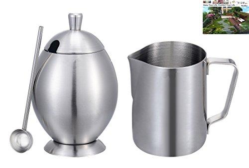 Deluxe 12oz Milk PitcherSugar Bowl Pot Set Ksendalo Stainless Steel Cream&sugar Pot Set for Coffee Latte Tea Frothing Milk