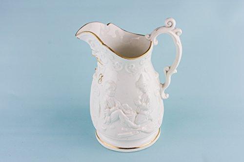 Gothic Revival Antique Figures Pottery Lemonade Pitcher JUG White Large Milk Unique English Mid 19th Century LS