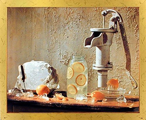 Lemonade Pump With Pitcher Still Life Room Decor Golden Framed Picture Art Print 18x22