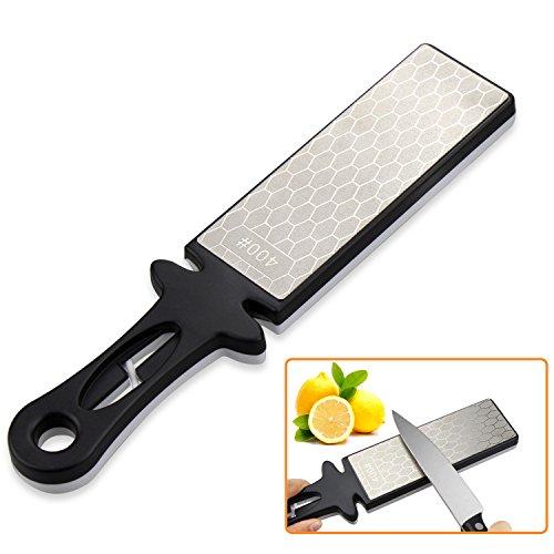 Sungwoo Knife Sharpener Stone Handheld 4001000grit Double Sided Diamond Sharpening Stone for Knife and Scissor BlackWhite