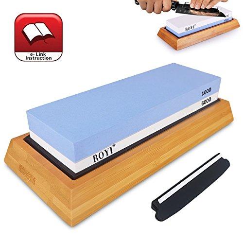 Premium Knife Sharpening Stone Kit 2 Side 10006000 Grit Whetstone Best Kitchen Blade Sharpener Stone Non-Slip Bamboo Base and Bonus Angle Guide Included