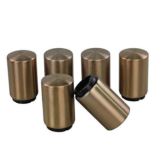 HOMMP 6-Pack Magnet-Automatic Stainless Steel Beer Bottle Opener Push Down Bottle Cap Opener Rose Gold