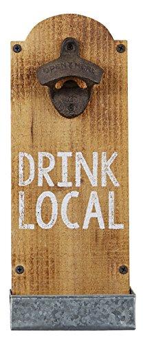 Mud Pie 4865010 Drink Local Wall Mounted Bottle Opener Brown