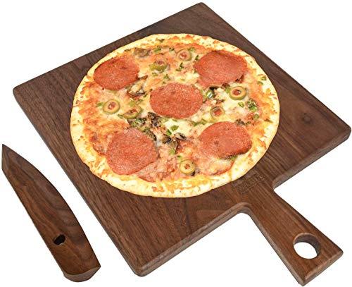 Real Black Walnut Wood Cheese Board Pizza Board with Handle black Walnut Knife Cutter by Walux Charcuterie Platter L Walnut Pizza Board L Walnut Cheese Board Wooden Serving Board Large Walnut