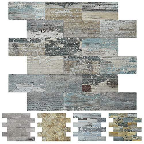 Art3d Peel and Stick PVC Composite Backsplash TilePack of 10 Tiles 12x12Distressed Wood Panel