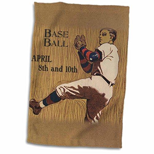 3dRose TNMPastPerfect Sports - Vintage Baseball Pitcher Artwork - 12x18 Towel twl_183366_1