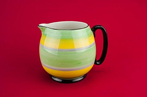 Yellow Slick Pottery Milk CREAMER Water Stripy Mid-Century Modern Vintage Pitcher Small English Mid 20th Century LS