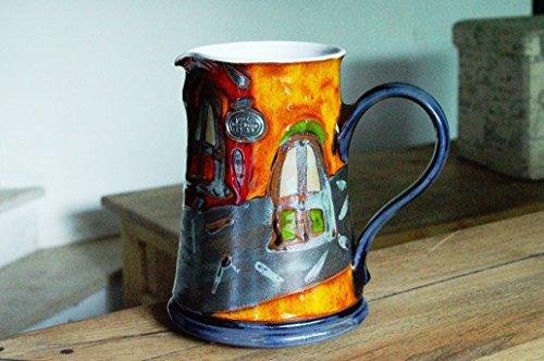 Ceramic Water pitcher Unique Colorful Pottery Jug Kitchen Decor