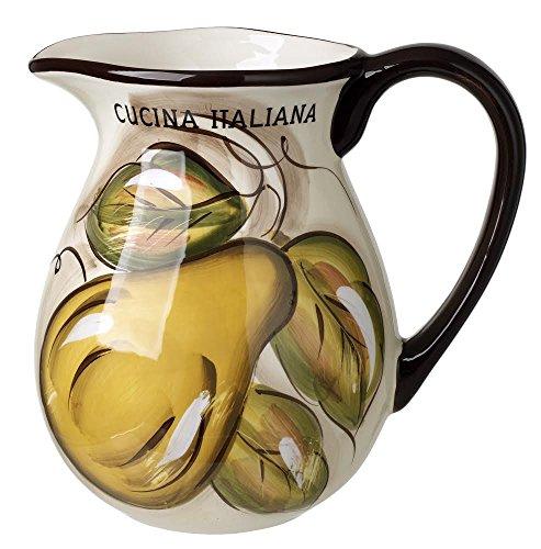 Original Cucina Italiana Ceramic Water Pitcher 25 Quart Beige Browm Rim Fruit Design