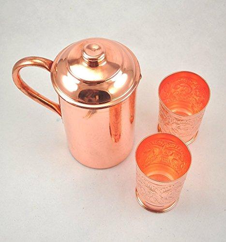BLUE NIGHT Handmade Pure Copper Vessel Pitcher Jug with Two Glasses Mug Tumbler Set