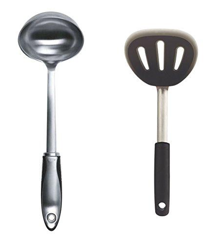 OXO SteeL Ladle and Mini Silicone Flexible Pancake Turner Set of 2