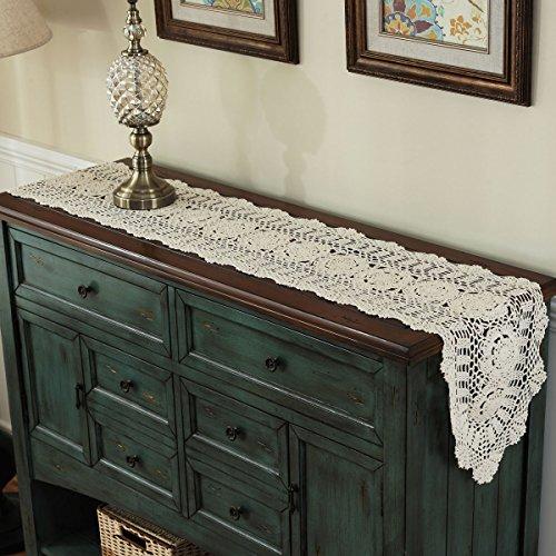 Gracebuy 12X55 Inch Begie Oblong HANDMADE Crochet Lace Table Runner