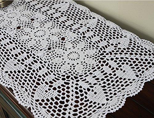 Gracebuy White 16X35 Inch Rectangular HANDMADE Cotton Crochet Lace Table Runner