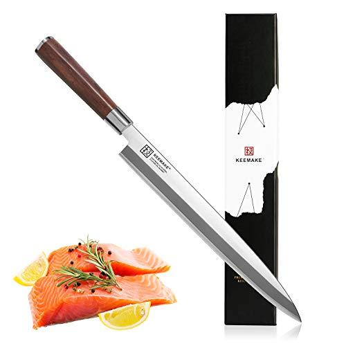 Sushi Knife KEEMAKE Japanese Sashimi Chef Fillet Single Bevel Yanagiba Knife Slicing Meat and Fish - VG10 2-Layer Ply Steel Blade with Brazilian Pear Wood Handle