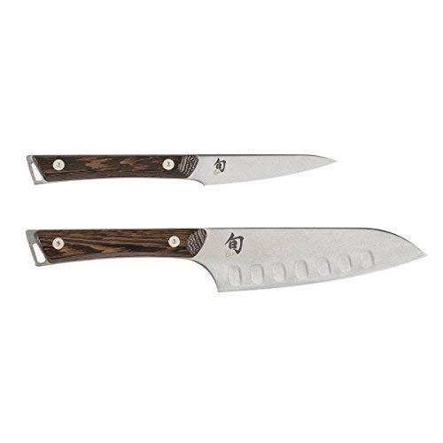 Shun Kanso 2pc 55 Hollow Edge Santoku 35 Paring Knife Set