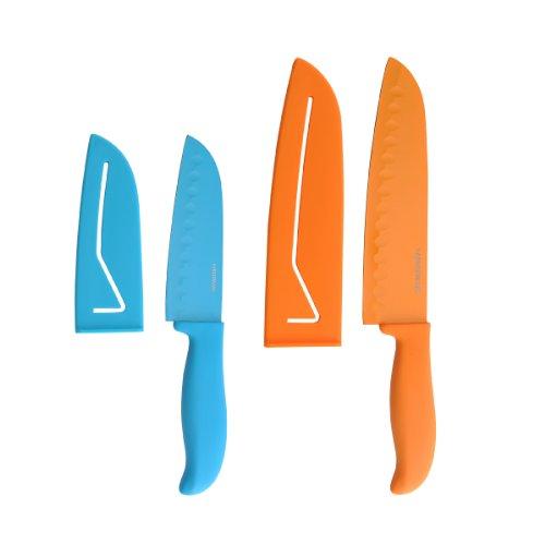 Farberware 4-Piece Non-Stick Resin Santoku Knife Set 5-Inch and 7-Inch