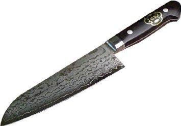 HONMAMON Santoku Hocho All-Purpose Kitchen Knife 170mm with beautiful Damascus Pattern Blade Edge  VG10 Double Bevel
