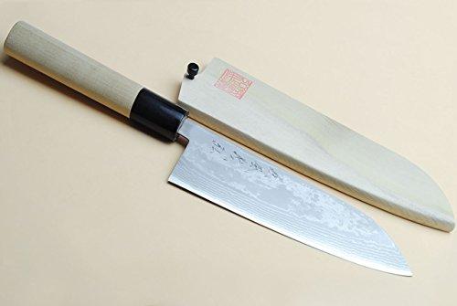 Yoshihiro Vg10 Stainless Steel 16 Layers Damascus Santoku Chefs Knife 65 In
