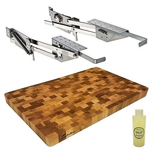 Rev-A-Shelf RAS-ML-HDCR Heavy Duty Mixer Lift - also includes a 1-14 x 12 x 19 Wood Natural Hard Maple END-GRAIN Butcher Block Shelf Platform with a 4 ounce bottle of Mineral Oil