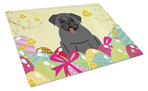 Carolines Treasures Easter Eggs Pug black Glass Cutting Board Large Multicolor