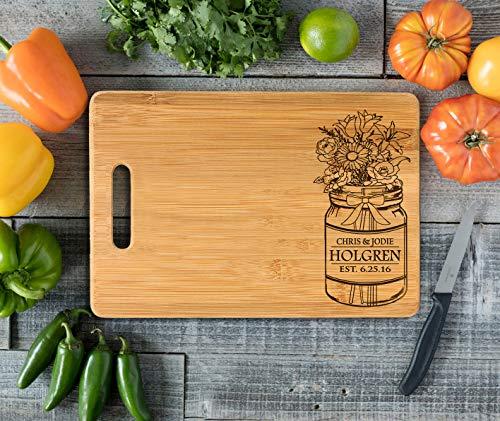 Personalized Cutting Board Engraved Bamboo Chopping Block Bamboo Handle Mason Jar