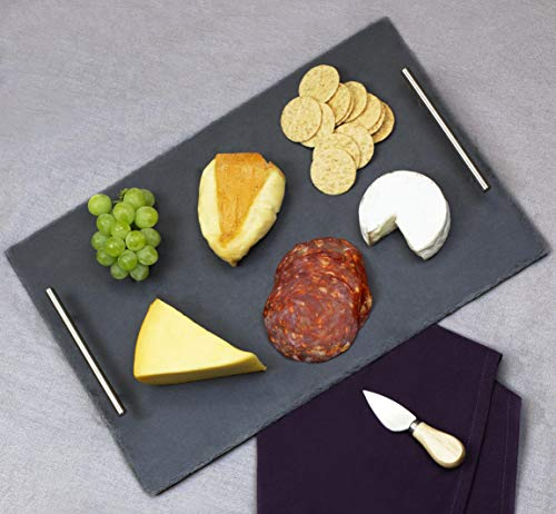 Home Basics Slate Serving Tray with Stainless Steel Handles Gourmet Board with Natural Edge for Cheese Appetizer Baked Goodies Dry Fruits 12 x 16 Black